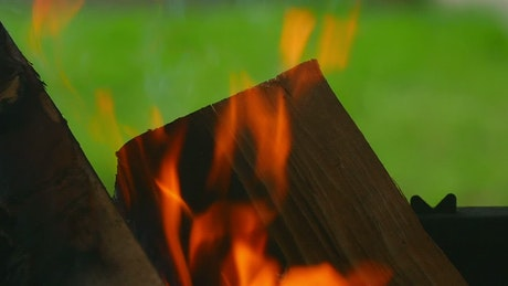 Fire consuming wood chunks