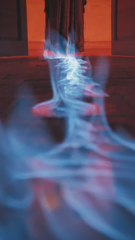 Fire line to the floor of the entrance to a place lit red