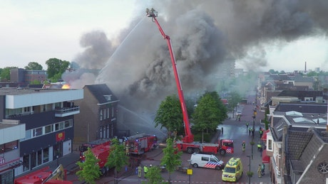 Firefighters putting out a big fire