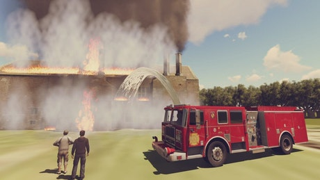 Firefighters putting out a burning building in 3D