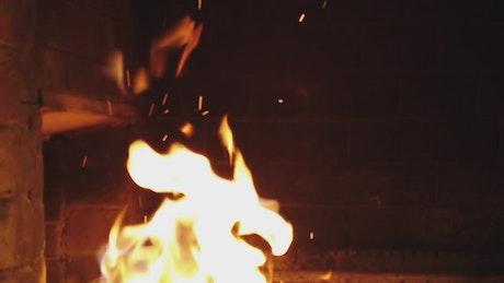 Fireplace burning bright