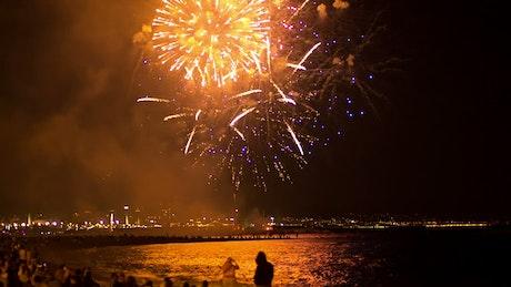 Fireworks illuminating the beach sky