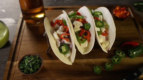 Fish tacos with beer