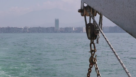 Fishing boat crane sailing