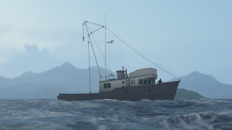 Fishing boat in the sea, 3D animation