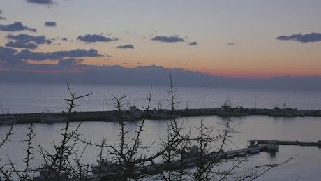 Fishing boats in a island harbor