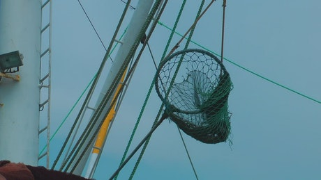 Fishing net on an anchored boat