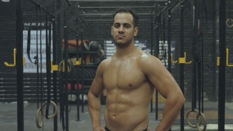Fitness man at a Crossfit gym