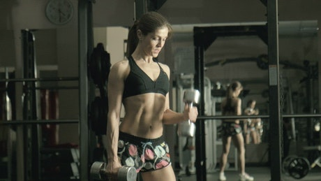 Fitness woman lifting weights in the gym