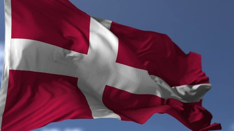Flag of Denmark waving in the wind