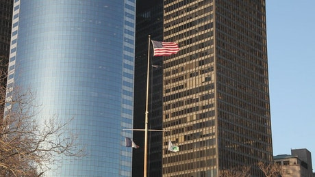Flags flying in Downtown Manhattan
