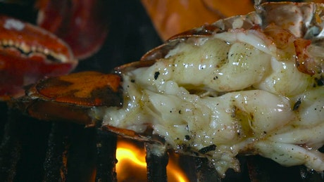 Flame grilled seafood