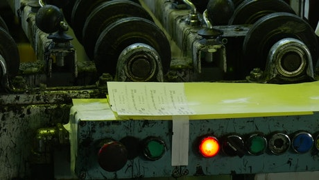 Flashing light on industrial machinery