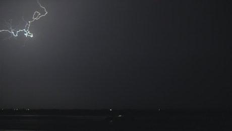 Flashing lightning in the night