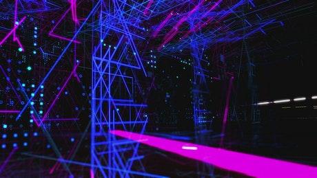 Flashing neon lights, 3D world