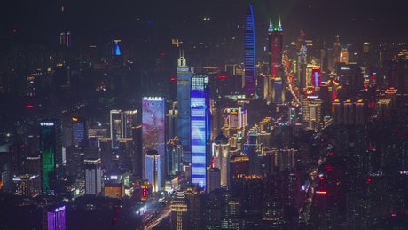Flashing skyscrapers in Shenzhen