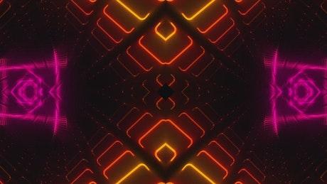 Flickering lights forming color tunnels