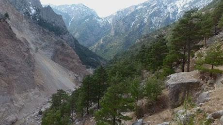 Flight through the mountain valley
