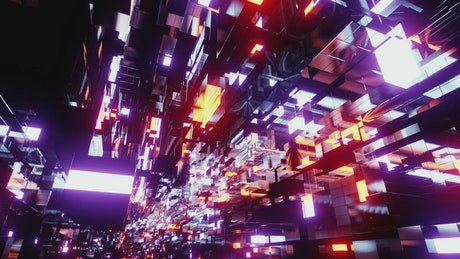 Floating abstract reflective blocks, 3D