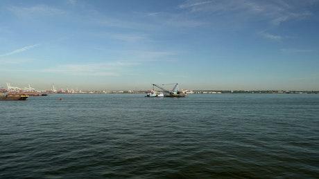 Floating crane in New York Harbor