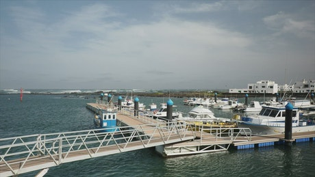 Floating dock with anchored boats