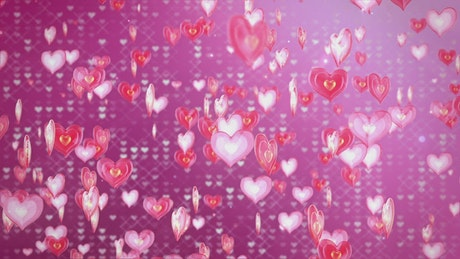 Floating Heart Shapes and Pink Background