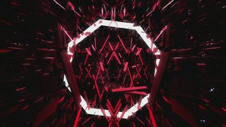 Floating red cyberpunk world