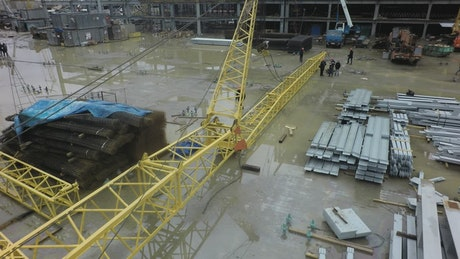 Flooded construction site