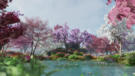 Flowery and colorful lake with trees and grass