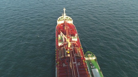 Flying above a tanker ship