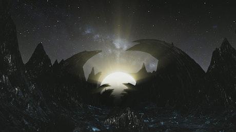 Flying across a dark rocky alien planet