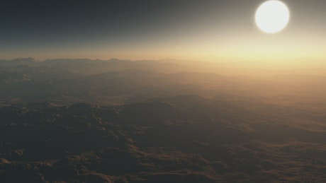 Flying across the misty surface of a planet in 3D
