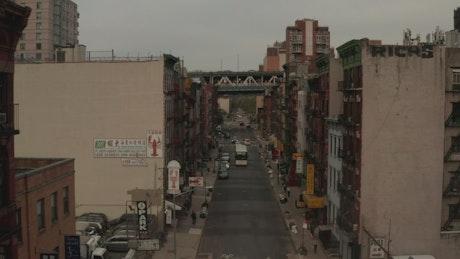 Flying among buildings in a New York neighborhood