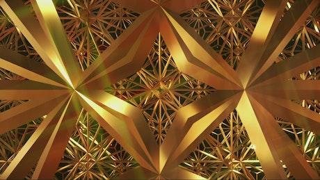 Flying among golden abstract figures