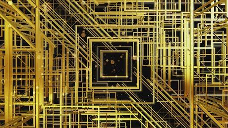 Flying between golden squares, 3D render