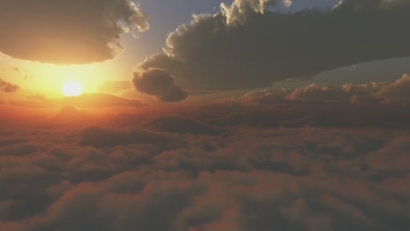 Flying in a 3D sky with clouds and a shining sun