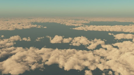 Flying in the sky above the clouds, loop video