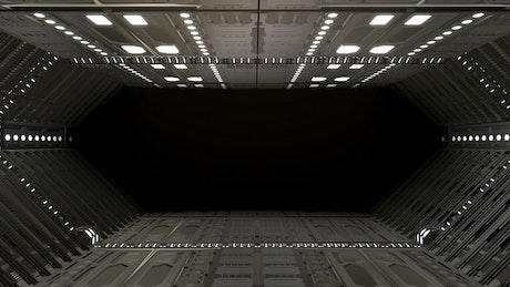Flying inside a big spaceship