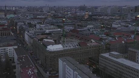 Flying low over the center of Berlin, Germany