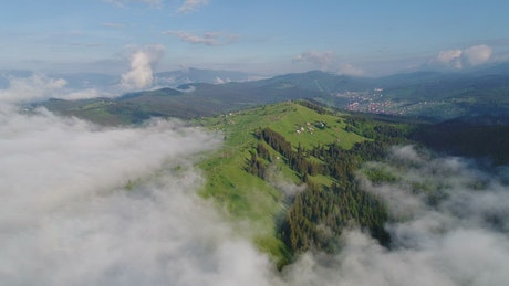 Flying over a clouds-covered forest