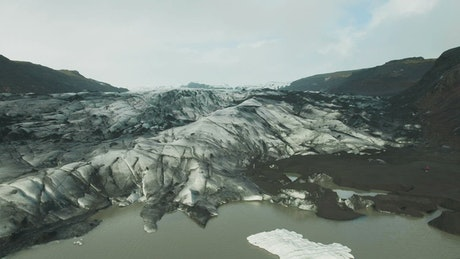 Flying over a glacier field