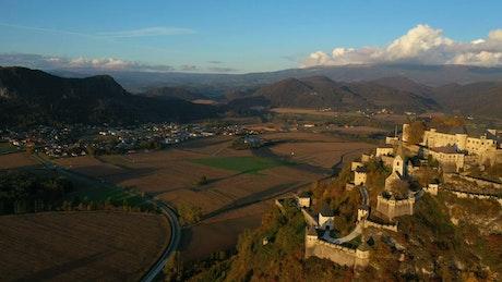 Flying over a medieval castel