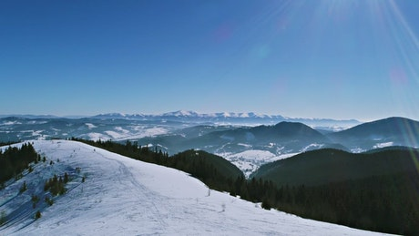 Flying over a ski resort with a panoramic view