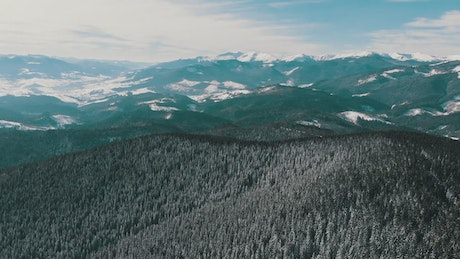 Flying over a snowy forest and mountains landscape