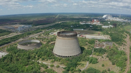 Flying over abandoned cooling towers