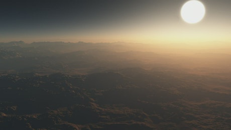 Flying over an alien planet heading for the sun
