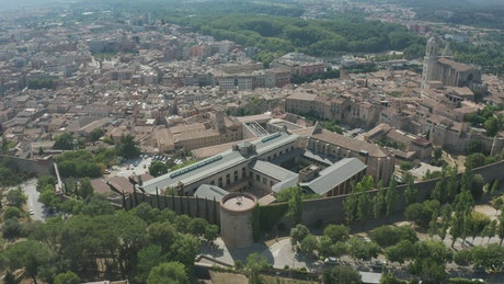 Flying over ancient city walls
