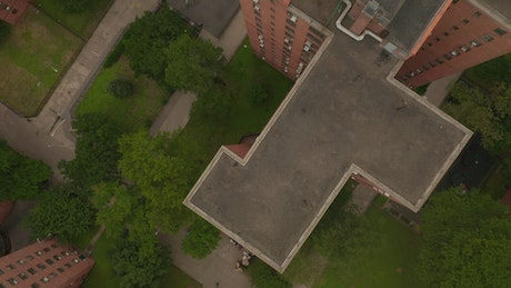 Flying over apartment buildings in New York
