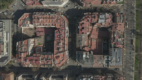 Flying over blocks of classic Barcelona style