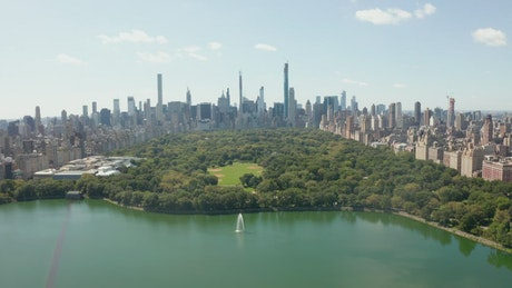 Flying over central park on a sunny day